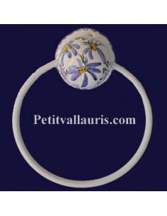 Porte serviette mural décor Fleuri bleu (anneau métal)
