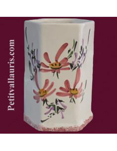 Tube-pot hexagonal décor Fleuri rose