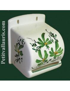 Dérouleur de papier toilette décor fleuri vert