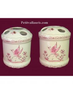 Porte brosse à dents décor de Tradition Vieux Moustiers rose