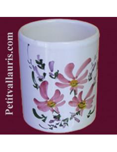 Porte crayon et maquillage décor Fleuri rose
