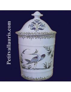 Pot de Salle de bain modèle Uho n° 2 Décor Tradition Vieux Moustiers bleu
