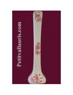 Soliflore droit en faïence décor Tradition Vieux Moustiers rose