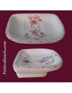 Porte savon modèle Annie décor Tradition Vieux Moustiers rose