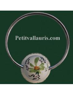 Porte serviette mural décor Fleuri vert (anneau métal)