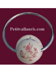 Porte serviette mural décor Tradition Vieux Moustiers rose (anneau métal)