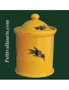Pot de cheminée rond taille 3 jaune provençal décor olive noire
