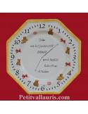 Assiette souvenir de naissance octogonale décor oursons