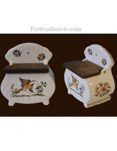 Boîte à sel ronde décor Tradition Vieux Moustiers polychrome