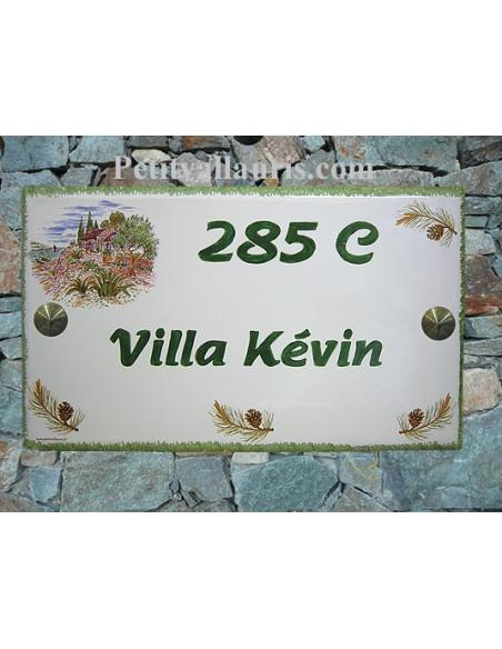 Plaque de Villa rectangle décor cabanon et olivier pignes de pin aux angles + inscription personnalisée verte