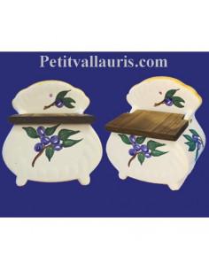 Boîte - pot à sel décor Olives bleues