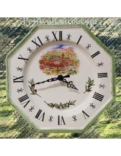 Horloge octogonale décor Valette du Var bord vert