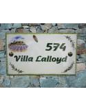Plaque de Villa décor cabanon champs de lavande brins d'olives aux angles cigale relief inscription personnalisée verte