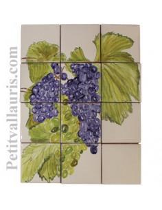 Fresque mural carrelage décor Grappe de raisin (tarif sans listel)