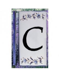 Numero de rue lettre C décor tradition vieux moustiers bleu
