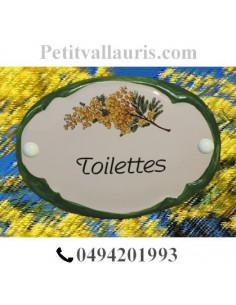 Plaque de porte ovale Toilettes brin de mimosas bord vert