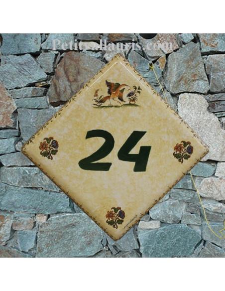 Plaque numéro de maison en faience émaillée fond couleur pierre motifs oiseau et fleurs polychrome + chiffre personnalisé vert