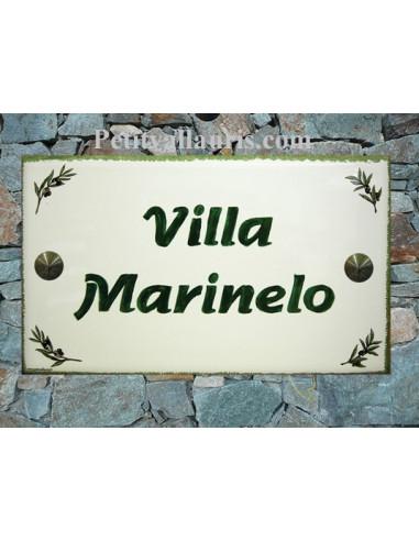 Plaque de Villa rectangle décor brins d'olives aux angles bord et inscription personnalisée verts