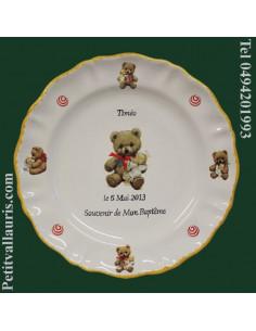 Assiette en faience personnalisée pour souvenir de baptême décor Oursons