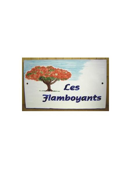 Plaque rectangulaire pour maison en céramique émaillée décor motif artisanal l'arbre Flamboyant + personnalisation
