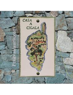 Plaque de Villa rectangle en céramique motif artisanal ile de la Corse + personnalisation