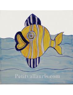 Carreau décor poisson exotique n°1 15 x 15 cm