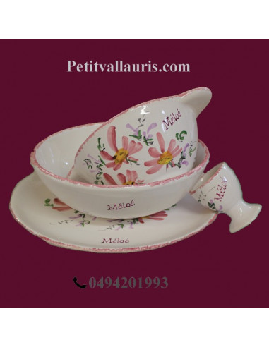 Set de naissance 4 pièces personnalisé décor fleur rose