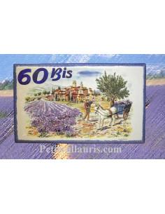 Fresque sur plaque de Villa rectangle décor récolte des lavandes bord et inscription personnalisée bleus