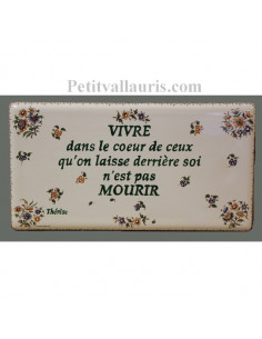 Plaque funéraire en céramique fleurs polychrome inscriptions vertes