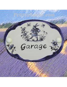 Plaque ovale Garage décor tradition vieux moustiers bleu