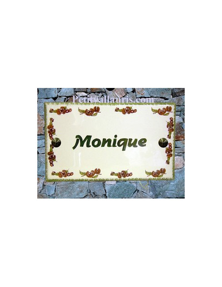 Plaque de Maison rectangle en céramique émaillée décor frise chataignes + inscription personnalisée