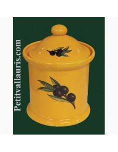 Pot de cheminée rond taille 2 décor jaune provençal décor olive noire