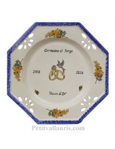 Assiette souvenir Mariage octogonale grand modèle décor mimosas bord bleu