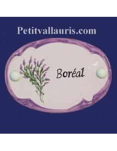 Plaque de porte en faience blanche modèle ovale motif artisanal la bruyère avec personnalisation