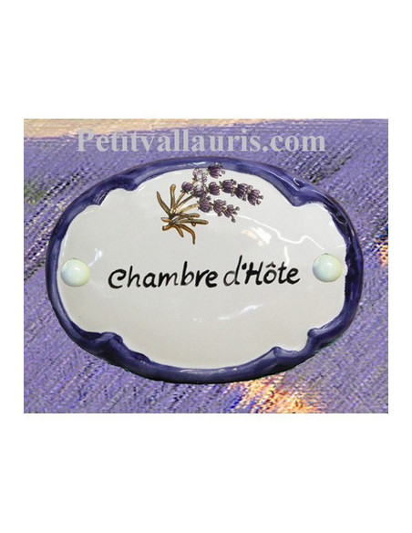 Plaque de porte ovale en faience décor Brin de Lavande inscription Chambre d'hôte