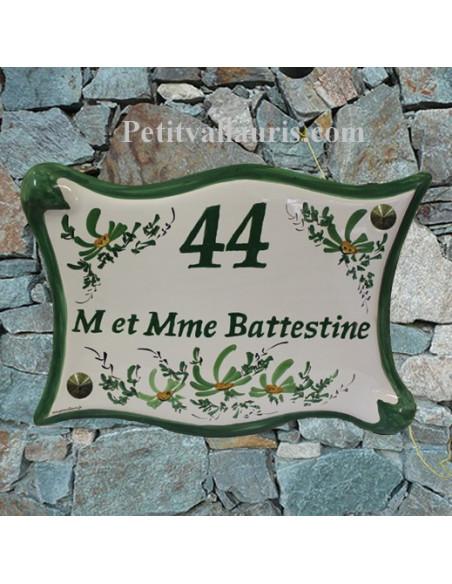 Plaque de maison en céramique modèle parchemin personnalisée motifs fleurs vertes