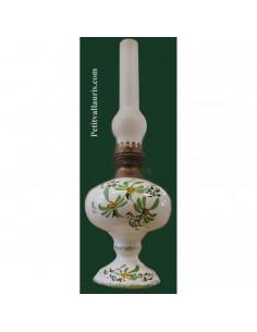 Lampe bec à pétrole décor Fleuri vert (montage au choix)