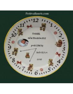 Assiette personnalisée de naissance avec photo décor nounours