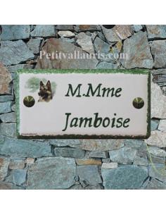 Plaque rectangulaire de maison en céramique émaillée motif berger allemand + inscription personnalisée