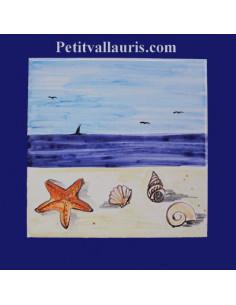 Carrelage décor plaqe et coquillages 10 x 10 cm