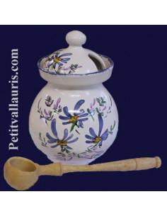 Pot à olives avec cuillère bois décor fleuri bleu