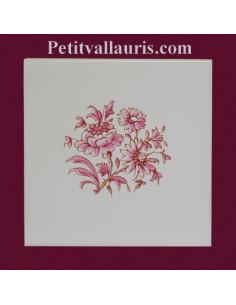 Carreau fleur rose décor Tradition Vieux Moustiers