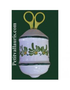 Distributeur de ficelle émaillé décor fleur verte