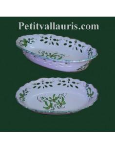 Corbeille à fruit ou à pain ovale décor ajouré fleur verte
