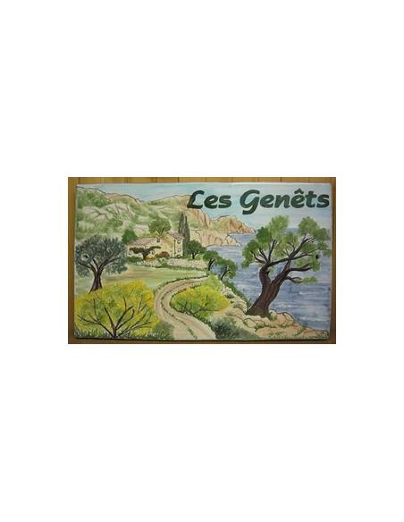 Plaque de Maison rectangle en céramique émaillée décor artisanal motif côte varoise + inscription personnalisée