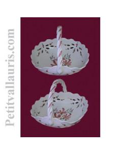 Panier ajouré de style décor fleuri rose D26 cm