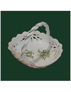 Panier ajouré de style décor fleuri vert D26 cm