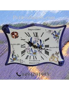 Horloge-pendule de Mariage modèle parchemin avec photo décor fleurs bleues
