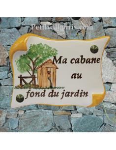 Plaque de Maison parchemin décor personnalisé la cabane au fond du jardin