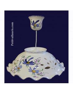 Suspension décorative céramique décor Fleuri bleu D40